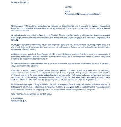 Criticità del sistema SDI, la comunicazione di Unimatica Spa