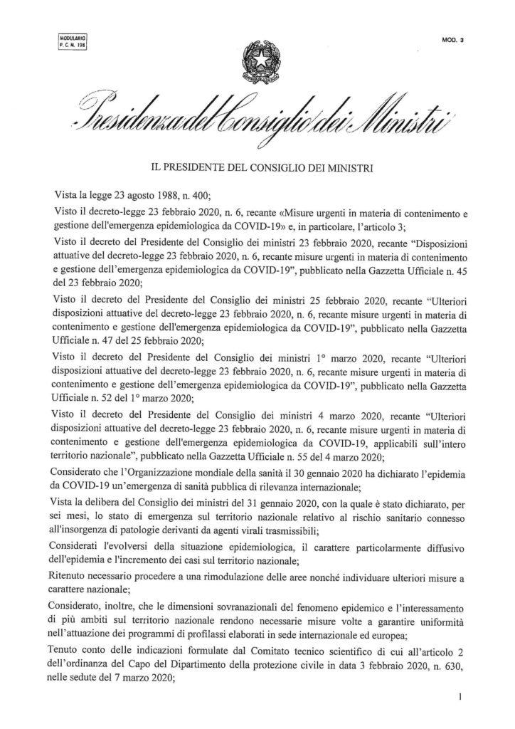 Il decreto dell'8 marzo 2020 con le ultime disposizioni governative
